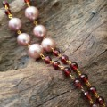 Hessonite Garnet and Yangtze Pearls, Two-Strand Necklace