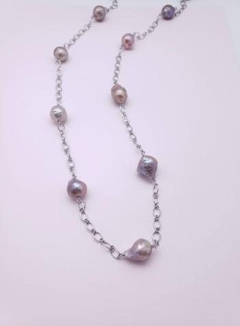 Yangtze Delta Fireball Pearl, Sterling Silver Necklace