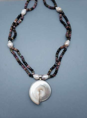 Tourmaline and Baroque Cultured Pearl Necklace with Mother of Pearl Nautilus Pendant