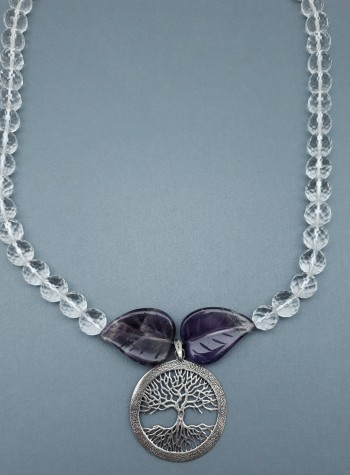 Faceted Clear Quartz with Amethyst Leaves Necklace with Tree of Life Pendant