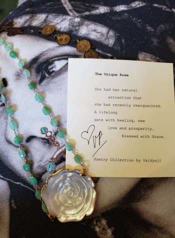 Chrysoprase Necklace with Mother of Pearl Rose Festoon