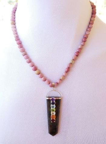 Rhodonite Necklace with Tourmaline Chakra Pendant