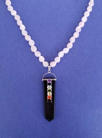 Rose Quartz Necklace with Chakra Pendant