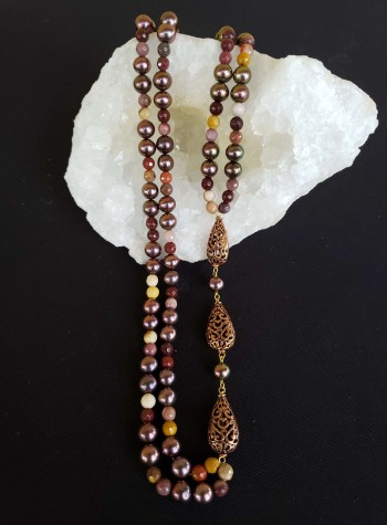 Two-strand Pearl and Mookaite Necklace with Copper Spindle Accents