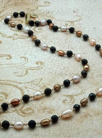 Black Garnet and Pearl Necklace