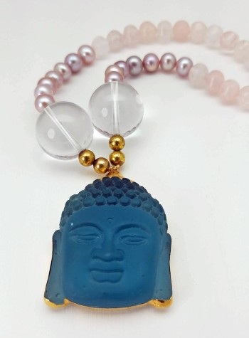 Rose Quartz and Pink Pearl Necklace with Aqua Quartz Buddha Pendant