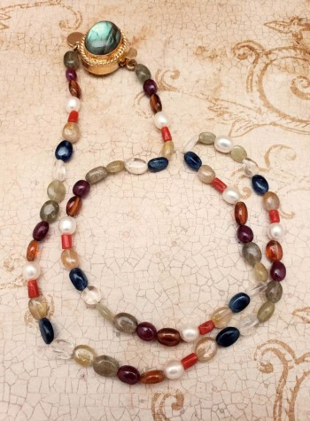 Multi-colored Semi-precious Gemstones and Pearl Necklace with Gray Mother of Pearl Clasp