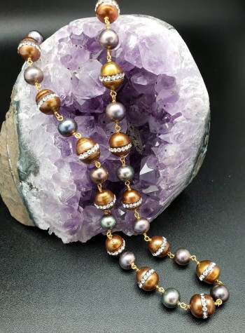 Blue and Brown Pearls with Cubic Zirconia Necklace