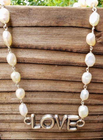 Freshwater White Oval Pearl Necklace with Sterling Silver Love Festoon