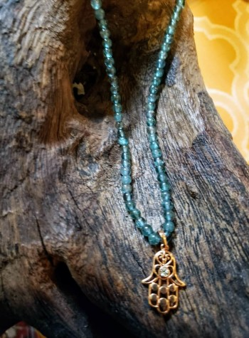 Apatite Necklace with Copper-plated Hamsa Pendant